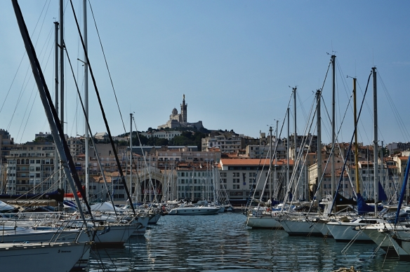 Harbor in Marseille with Notre Dame