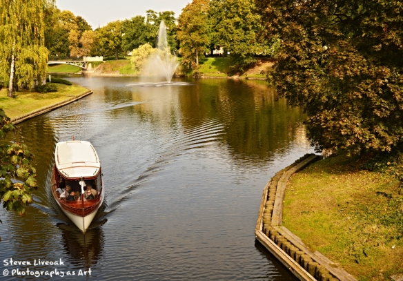 Canal with Boat - Riga