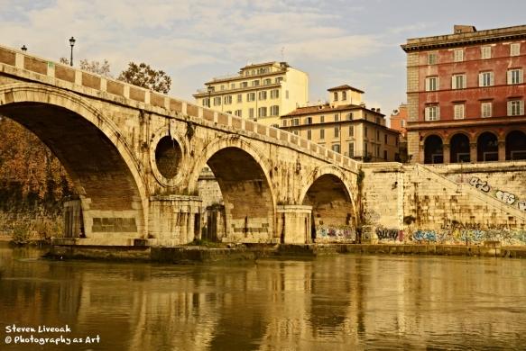 Stone Bridge with Buildings
